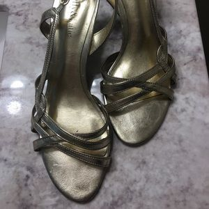 Gold strappy heels - excellent condition